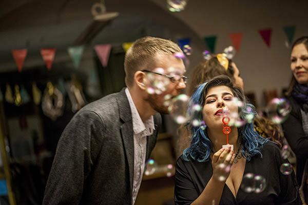 Såpbubblor på tioårsfest